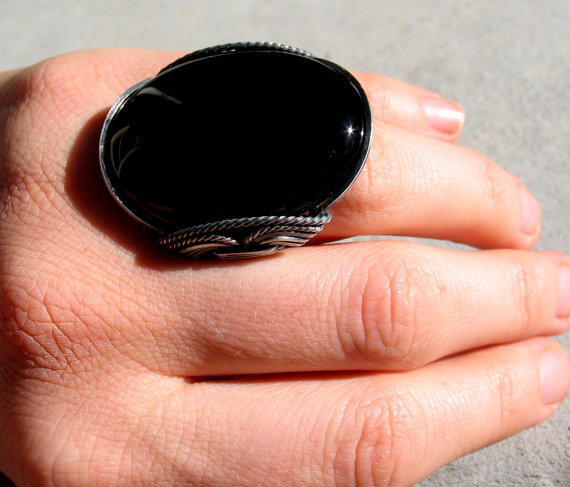 Huge Onyx Ring, Oxidized Silver, Mens Rings, Rings for Women