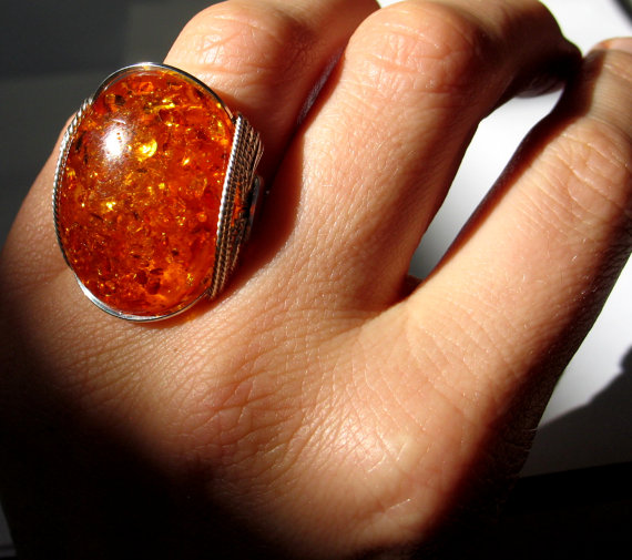 Honey Pot Amberlite Ring, Hot Lava Jewelry, Sterling Silver