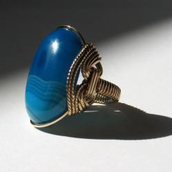 Tropical Ocean Ring, Sky Blue Agate, Turquoise Blue, Gold Fill, Handmade Jewelry  