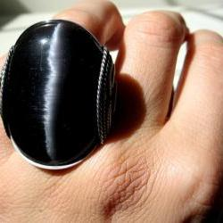 Cats Eye Ring, Black & Silver, Oxidized Silver, Mens Ring, Womens Ring, Unisex, HUGE Ring