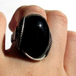 Black Onyx Ring, Chunky Gemstone, Oxidized Sterling Silver