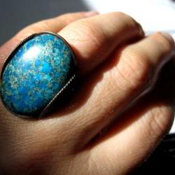 Aqua Teal Blue Ring, Bright Statement Ring, Oxidized Copper